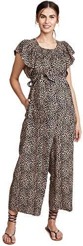 Ingrid Isabel Women s Wide Leg Maternity Jumpsuit Leopard Print Tan Brown Medium product image