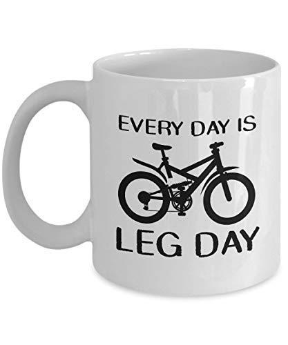 Tonesum Every Day is Leg Day Mug Bike Gifts for Biker Funny Biking And Cycling Tea Cup Mountain Bike Dirt Bike Motorcycle Racing Road Bike Coffee Mug Gift for Her or Him 11 oz White Ceramic Mug