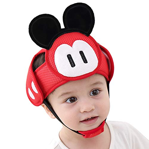 Baby Helmet Toddler Protective Hat Infant Head Protective Cotton Hat, Toddler Adjustable Safety Helmet for Learning Crawling Walking Red