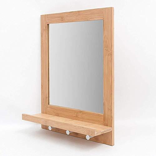 LYMUP Espejo de baño minimalista elegante espejo con estante, para montar en la pared de la personalidad, espejo de tocador para baño (color: A)