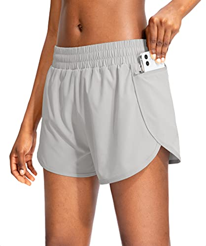 Soothfeel Womens Running Shorts with Phone Pockets High Waisted Athletic Gym Workout Shorts for Women with Liner Light Grey