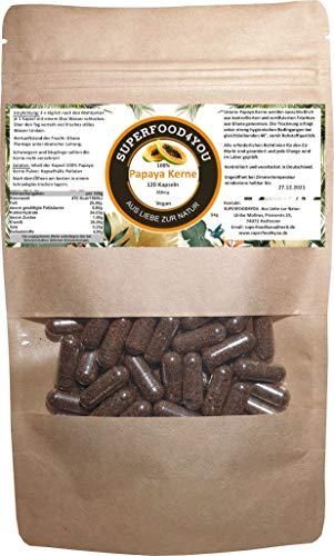 Papaya Kerne Kapseln 120 Stück bei 40° kontrolliert getrocknet - Rohkostqualität - Ohne Zusatzstoffe - Garantiert rein - Gluten - Laktosefreie Papaya Samen - Papain/Milde Schärfe