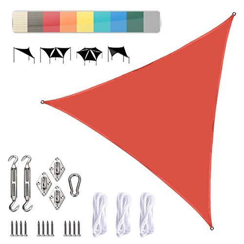Triangle Sun Voile d'ombrage Auvent - Bloc UV pour Patio et extérieur, Triangle Sand Sun Voile d'ombrage Canopy UV Bloc pour Auvent Patio extérieur Jardin Cour arrière,O,3 * 3 * 3m