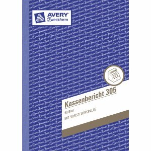 AVERY Zweckform 10 x Formularbuch Kassenbericht A5 VE=50 Blatt mit Ausfüllhilfe
