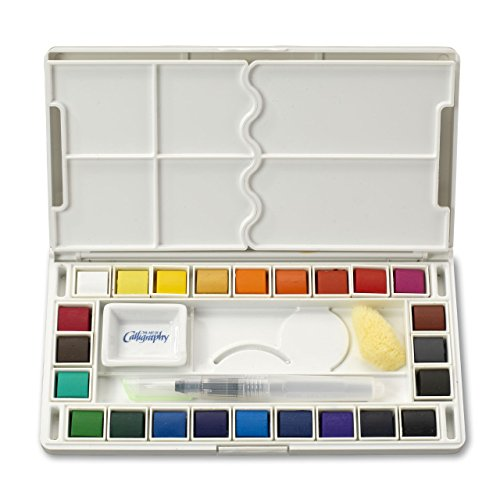 Jerry Q Art 24 Assorted Water Colors Travel Pocket Set- Quality Refillable Water Brush with Sponge - Easy to Blend Colors - Built in Palette - Perfect for Painting On The Go JQ-124