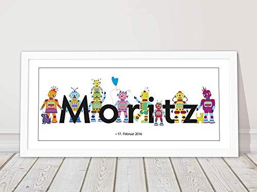 Taufgeschenk, Mädchen, Junge, Geburtsgeschenk, Baby, Kinderzimmerbild, Roboter, personalisiert, mit Rahmen