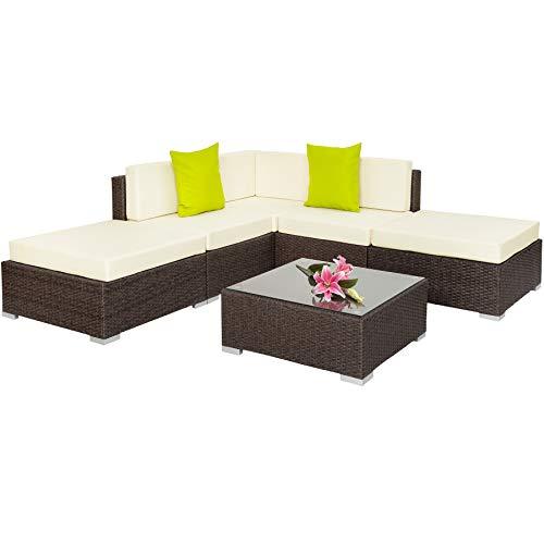 TecTake Aluminio POLIRATÁN Conjunto TRESILLO Muebles DE RATÁN Conjunto para JARDÍN Incl. Fijaciones (MARRÓN Antiguo | No. 401813)