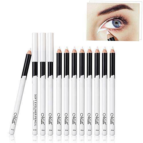 Freeorr 12 Packs Professioneller Eyeliner Pen, Wasserdicht Langlebig Weißer Eyelinerstift für den perfekten Lidstrich