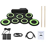 Electronic Drum, 7 Pad Digital Roll-Up Drum Kit, with Sticks and Foot Pedals