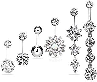Stainless Steel Crystal Dangle Belly Button Rings 6pcs/set Navel Nail Rings Body Jewelry Piercing 14G/1.6mm for Men Women