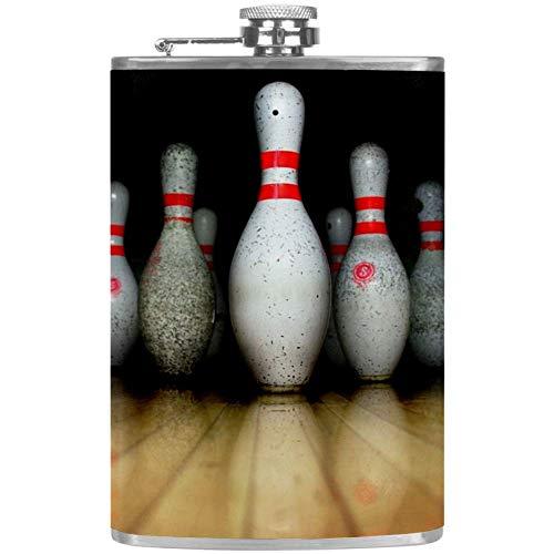 Bennigiry Herren Flachmann Bowling Auslaufsicher Edelstahl Taschen-Flachmann für Likör