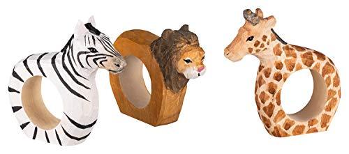 your castle 3er Set Serviettenringe Afrikas Tierwelt:Löwe, Zebra, Giraffe aus Holz handgeschnitzt und handbemalt, ca. 9x7x2 cm