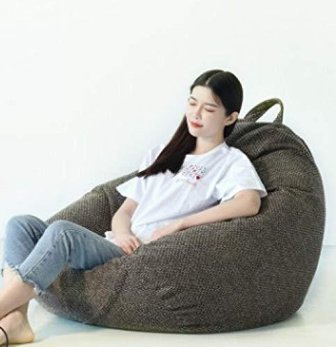 QIROG Faules Sofa Cover Sitzsack Liegestuhl Sofa Sitz Wohnzimmer Möbel ohne Füller Bohnensack Sofa Bett Hocker Puff Couch Tatami-Nummer 7_L-90 cm x 110 cm_China