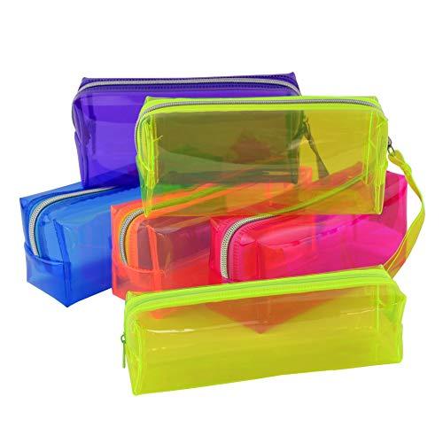 BETOOL Stationery Estuche transparente para lápices, 1 bolsa de gelatina transparente multifuncional, con cremallera, bolsa de maquillaje para niños, adolescentes y estudiantes, color azul