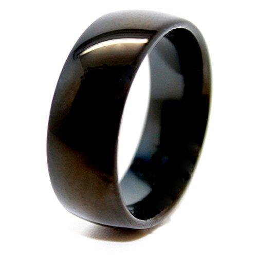Gewölbt, Schwarz, 8 mm, Ehering, Wolframkarbid, Größe Z 3