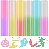 """Color Changing Adhesive Vinyl by Sun Light 6 Sheets 12""""x10"""" Heat Transfer Vinyl Iron-on Transfer Vinyls Pack HTV Rolls for DIY Halloween Craft T-Shirt Clothes Bag Hat Fabric Supplies"""