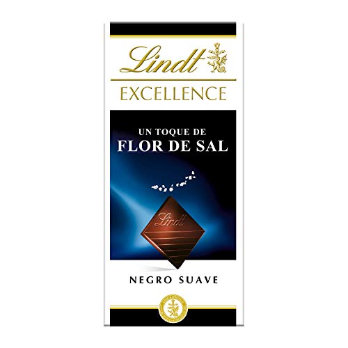 Tableta de chocolate negro Lindt Excellence Flor de Sal - 100 g, pack de 5