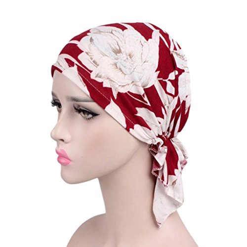 Mitlfuny Frauen Indien Muslim Elastische Turban PrintTurban Stirnband Plissee Head Wrap Hijab Tube Schal Arab Laser Gewickelt Hut Baumwollhut (C)