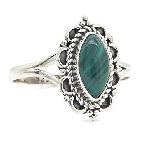 Ring Silber 925 Sterlingsilber Malachit grün Stein (Nr: MRI 152), Ringgröße:60