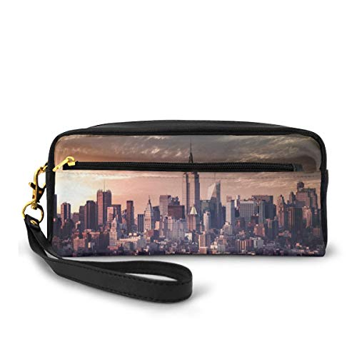Portable PU Leather Pencil Case - I Love NY Cosmetic Makeup Pouch - Fashion School Pencil Holders with Zipper