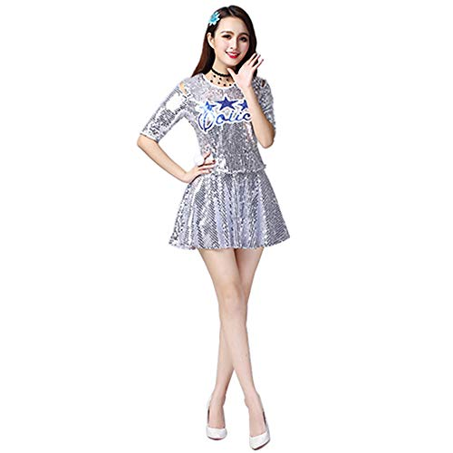 Yudesun Cheerleading Tanzkleid Uniform Damen - Mädchen Pailletten Tanz Bekleidung Tops Minirock Set Kostüm Moderne Jazz Outfit Halloween Karneval Party Silber EU XXL=Tag XXXL