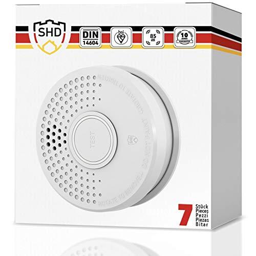 Rauchmelder 7er Set mit 10 Jahre Garantie inkl. 7X 9V Batterie geprüft nach DIN EN14604 und BSI Zertifiziert - 7 Stück Rauchwarnmelder Feuermelder Brandmelder Feueralarm …