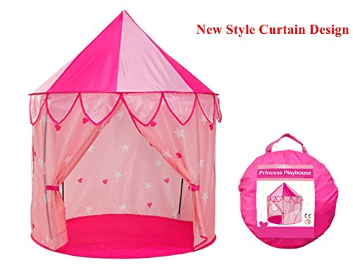 TrendPow Kids Princess Castle Play Tent with Curtain,Childrens Playhouse Toy for Girls Kids Toddlers with Carrying Case,Indoor & Outdoor Use