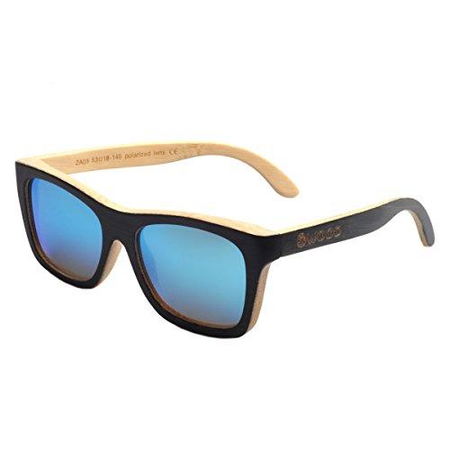 Iwood Unisex Madera Negro Pintura Marco polarizó el Azul Hielo de la Lente Gafas de Sol de bambú