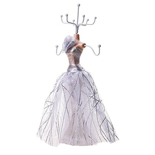 Generic Mannequin Schmuckständer Schmuckhalter aus Harz Schmuck Kette stehen Display Halter - Silber, 10 x 10 x 24 cm