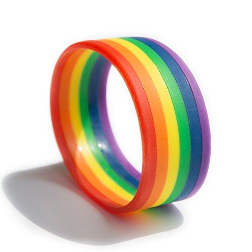 Friendship Bracelet Ring Bracelet for Men Band Rainbow Bracelet Silicone Ring Silicone Wristband Sports Fan Bracelet Rainbow Band Colorful Wristband