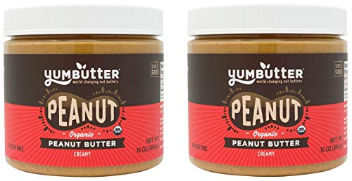 Organic Peanut Butter by Yumbutter, USDA Organic, Gluten Free, Vegan, Non GMO, 16oz Jar (Pack of 2)