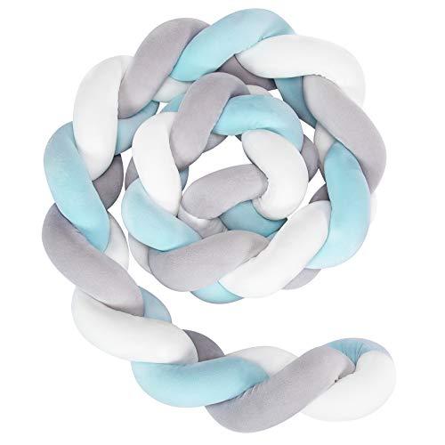 Yoofoss Cuscino Intrecciato Nodo Paracolpi Letto Treccia, Baby Intrecciato Culla Decorative e Protezione per Bambini per Lettino e Culla (blu, 1.5m)