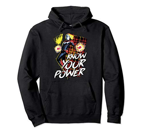 Captain Marvel Know Your Power Plaid Pullover Hoodie