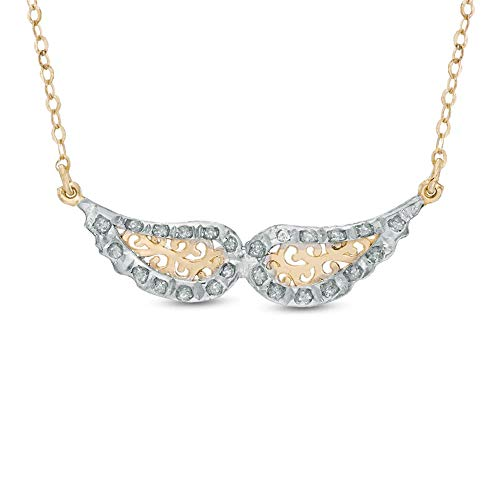 Ani's Clear Round Cut CZ Diamond Wings Necklace For Girls & Women In 14K Yellow Gold Plated 925 Silver - 17'