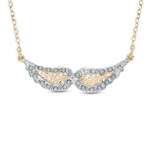 Ani's Collar de alas de diamante de circonita cúbica transparente de corte redondo para niñas y mujeres en plata 925 chapada en oro amarillo de 14 quilates, 43 cm