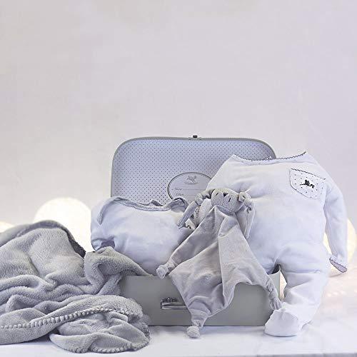 BebeDeParis   Regalos Originales para Bebés Recién Nacidos   Canastilla Bebé Manta   Ideal para paseos   Doudou   3-6 Meses (Gris)