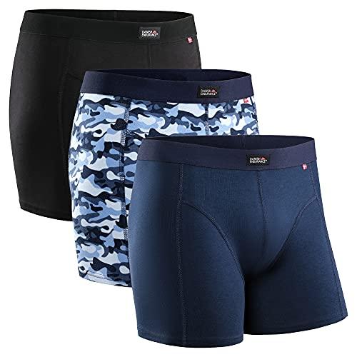 DANISH ENDURANCE Herren Boxershorts, Mehrfarbig (Schwarz, Marineblau, Camouflage Blau) - 3 Pack, Gr.- XL