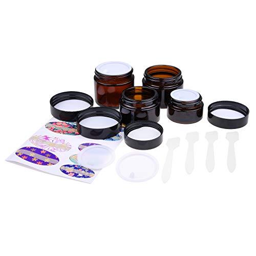 Kare & Kind Nachfüllbare Kosmetikgläser - 4x Kosmetikdosen (Braunglas), 4x Deckel, 4x Innenhüllen, 39x Etiketten + 4x Mini Spachtel zum einfachen Befüllen - Für Cremes, ätherische Öle, Puder, etc.