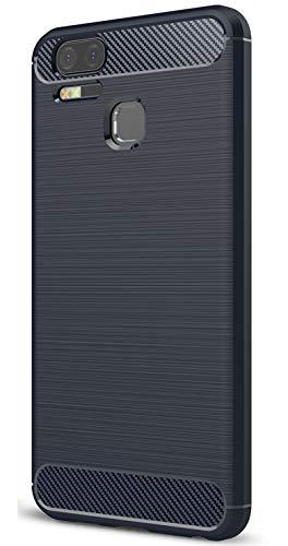 XINFENGDI Asus Zenfone 3 Zoom ZE553KL Hülle, Tasche mit Stoßdämpfung Robuste TPU Stylisch Karbon Design Handyhülle Hülle Hülle für Asus Zenfone 3 Zoom ZE553KL - Blau