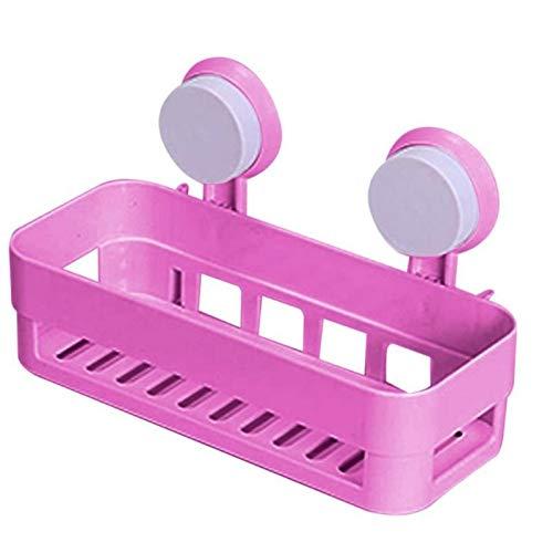 Nuevo Estante de baño Ventosa de succión Taza de Pared con 2 sucaños de Ducha de plástico Caddy Organizer Holder Bandeja con locera de Cocina (Color : Pink)