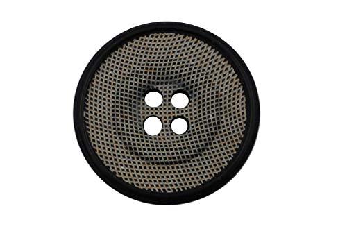 Ökoknopf ® knopen zwart grijs Urea en hoorn 4 gaten met rand (5 stuks)