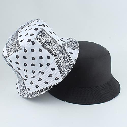 Sombrero de Cubo Reversible de Verano para Mujer, Gorra de Pescador con protección Solar de algodón con Estampado de Letras inglesas, Gorro Pescador-New Vintage White