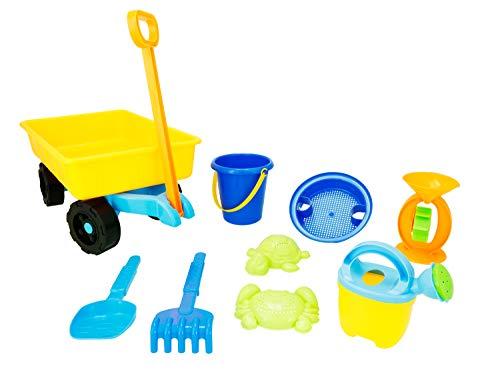 Bieco Stabiler Strandwagen Set 9 TLG., Handwagen mit Spielzeug Sandspielzeug Bollerwagen Strandspielzeug Kinderspielzeug Sandspielzeug Wagen zum Hinterherziehen, bunt, 06000219