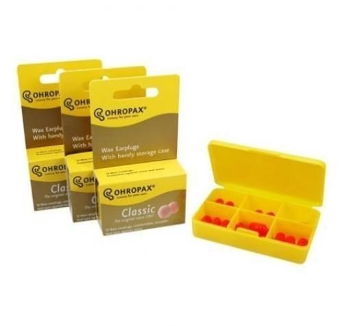3 Pack of Ohropax Wax Cotton Ear Plugs - 36 Earplugs Total with 6 Compartment Daily Travel Case