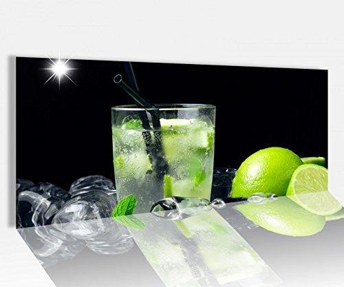 Acrylglasbild 100x40cm Mojito Cocktail Eis Minze grün Acrylbild Glasbild Acrylglas Acrylglasbilder 14A1465, Acrylglas Größe1:100cmx40cm