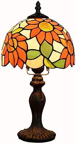 Pastoral Pantalla de girasol Lámpara de mesa Estilo Tiffany Vidrieras Luz de escritorio Sala de estar Comedor Dormitorio Decoración de la cabecera Iluminación 8 pulgadas-IS