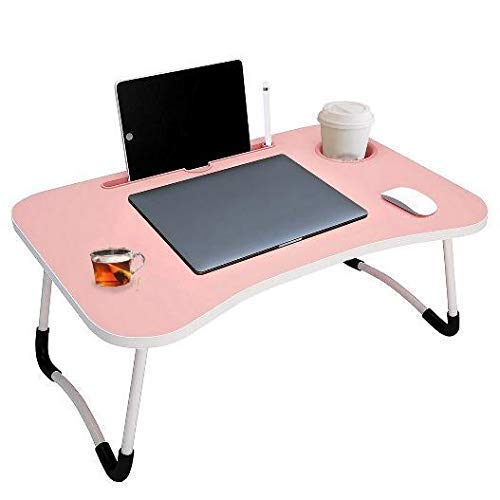 YOYOW Smart Multipurpose Foldable Laptop Table with Cup Holder, Study Table, Bed Table, Breakfast Table, Foldable and Portable/Ergonomic & Rounded Edges/Non-Slip (Dore Moon)