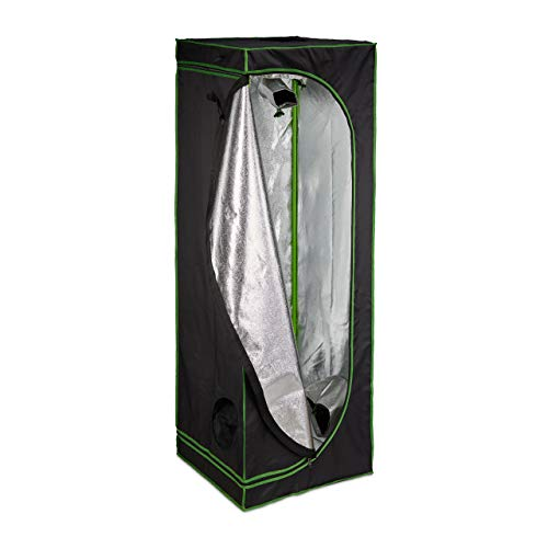 Relaxdays Growbox, HxBxT: 180x60x60 cm, Pflanzen Anbau, Reflexionsfolie innen, verdunkeltes Zuchtzelt, schwarz/grün