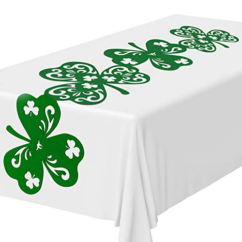 Whaline Shamrock Table Runner, Felt Green Irish Table Top...
