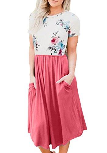 Yidarton Damen Sommer Kleid Kurzarm Blumendruck Patchwork Casual Plissee Midikleid mit Taschen, Rosa, L
